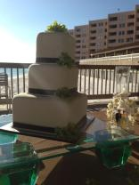 """Angela"" white square wedding cake w/chocolate brown ribbon & lime green orchids - Feeds 70. MSRP $300"