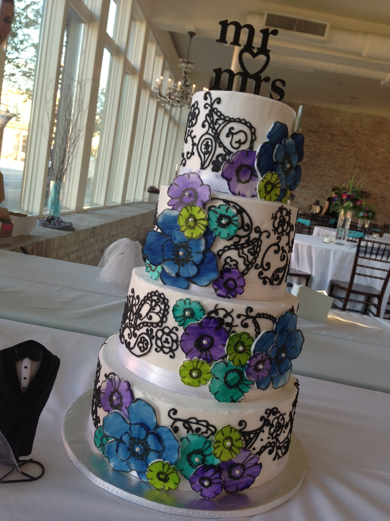 Blue And Purple Wedding Cake Viewing Gallery