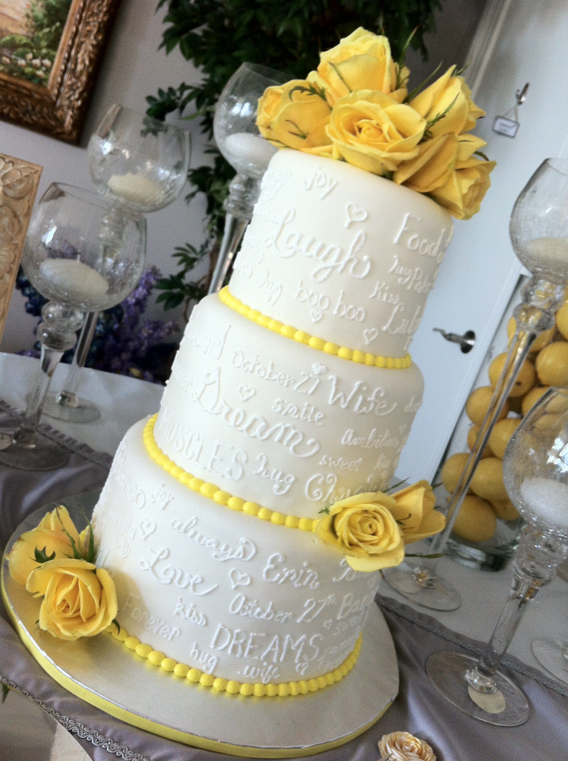 Erin 3 tier wedding cake with love notes yellow accents 1936 2592 in wedding cakes junglespirit Gallery