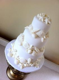 """Lauren"" White on white seashell wedding cake"