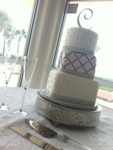 """Tracy"" 3 Tier Rhinestone and pink wedding cake."
