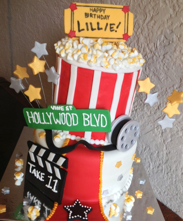 Movie Lovers Popcorn Birthday Cake